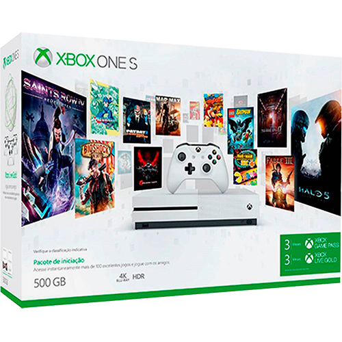 Console Xbox One S Branco 500gb + 3 Meses